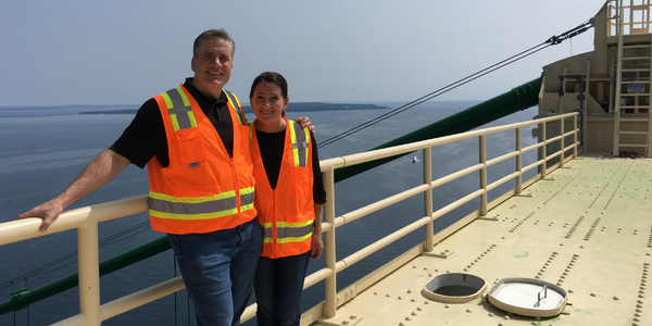On top of the Mackinac Bridge | Ryan Sharpe | Carrie Sharpe