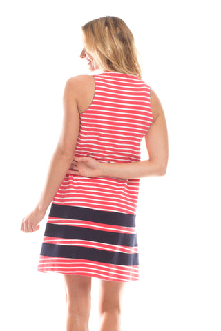 Waverly Dress in Berry Stripes with Navy