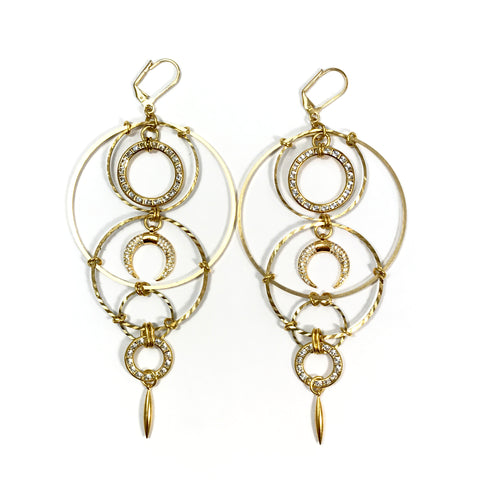 Women's gold multi circle chandelier earrings with crystal encrusted rings and crystal encrusted crescent moon