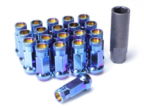 Muteki SR48 Extended Racing Lug Nuts 20pcs - Burning Blue Neon