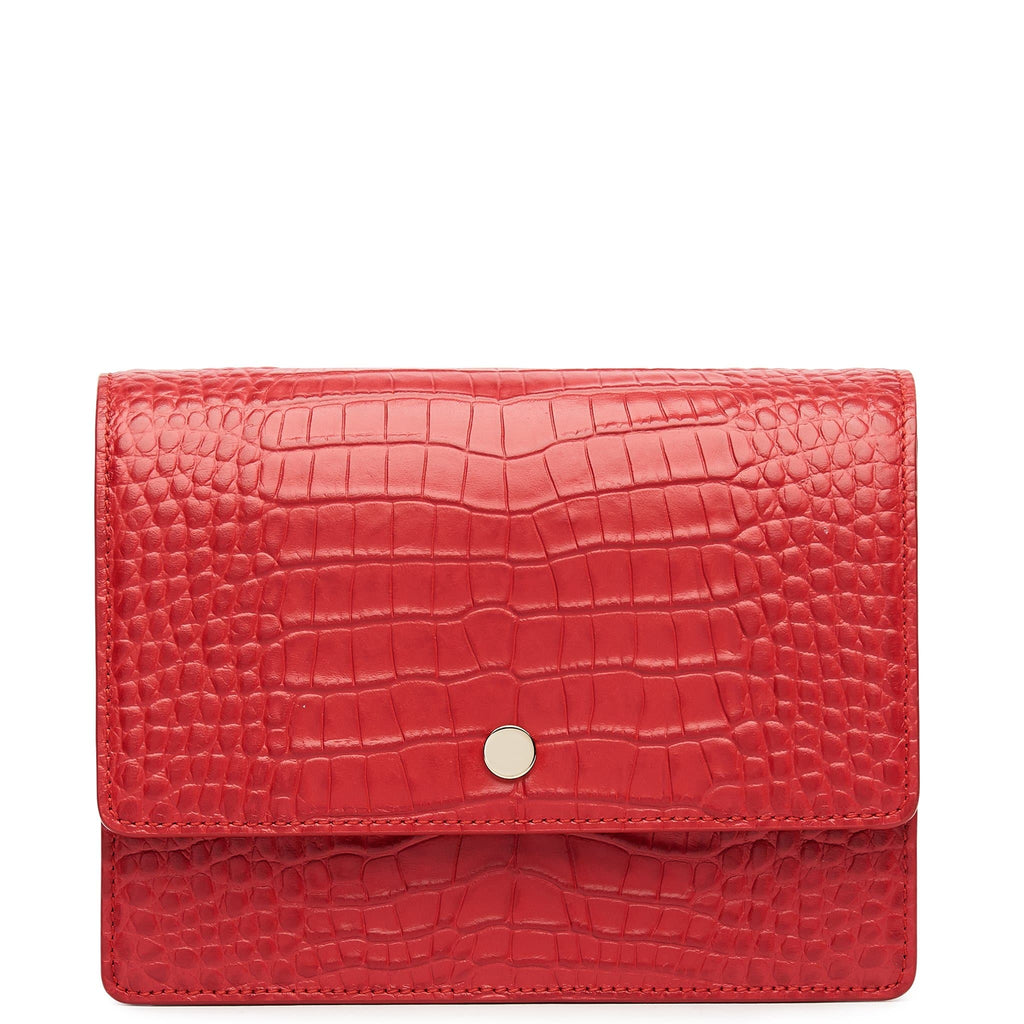 Croco Mini Messenger Courier - Rouge - OAD NEW YORK