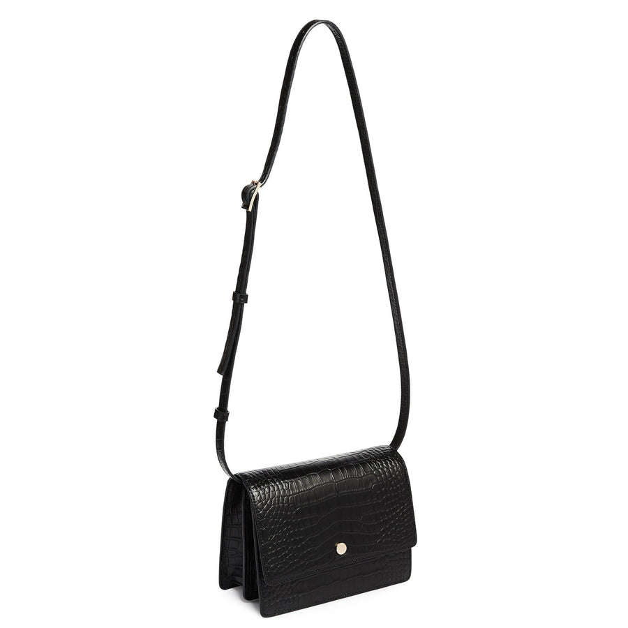 Croco Mini Messenger Courier - True Black - OAD NEW YORK