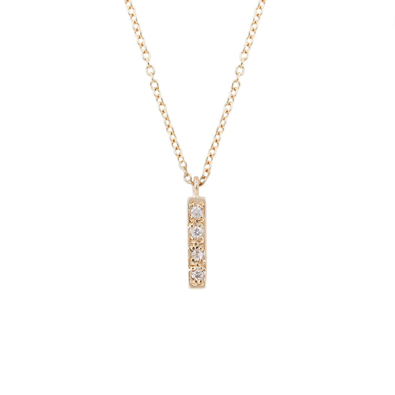 Baby Bar Necklace-White Diamond