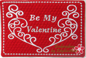 BE MY VALENTINE In The Hoop Embroidered Mug Mat.  INSTANT DOWNLOAD - Embroidery by EdytheAnne - 1