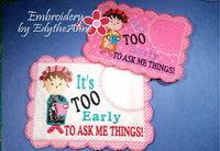 IT'S TOO EARLY WHIMSICAL MUG MAT Available in two sizes. INSTANT DOWNLOAD