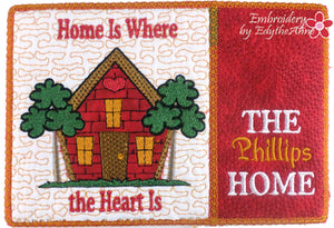 Whimsical Mug Mat -Home is Where the Heart Is Mug Rug - 2 Sizes Included - DIGITAL DOWNLOAD