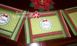 WORDS OF CHRISTMAS PLACE MAT SET  In The Hoop - INSTANT DOWNLOAD - Embroidery by EdytheAnne - 1