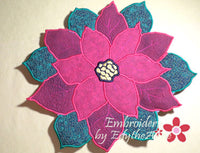 POINSETTIA CENTERPIECE or TRIVET  In The Hoop Project -INSTANT DOWNLOAD