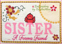 SISTER A FOREVER FRIEND.... In The Hoop Embroidered Mug Mat/Mug Rug Design - DIGITAL DOWNLOAD