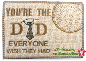 YOU'RE THE DAD In The Hoop Embroidered Mug Mat/Mug Rug.  - Digital Download