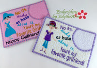 FAVORITE GIRL FRIEND  Set of 2 Designs In The Hoop Whimsical Embroidered Mug Mats/Mug Rugs-Digital Download