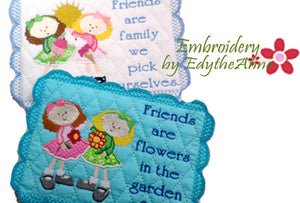 FRIENDS MUG MATS Available in two sizes. INSTANT DOWNLOAD NOW - Embroidery by EdytheAnne - 1