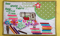"Sew Much Fabric...Sew Little Time"" In The Hoop Whimsical Embroidered Mug Mats/Mug Rugs.   - Digital File - Instant Download"