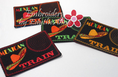 MEXICAN TRAIN GAME In The Hoop Embroidered Mug Mat.   - Digital File - Instant Download - Embroidery by EdytheAnne - 1