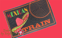 MEXICAN TRAIN GAME In The Hoop Embroidered Mug Mat.   - Digital File - Instant Download - Embroidery by EdytheAnne - 2