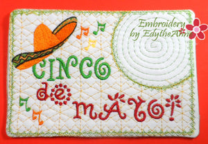 CINCO DE MAYO In The Hoop Embroidered Mug Mat.   - Digital File - Instant Download - Embroidery by EdytheAnne - 1