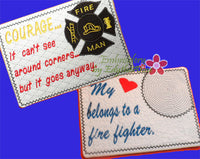FIREFIGHTERS  In The Hoop Embroidered Mug Mat/Mug Rug.  2 Piece Set .  - Digital File - Instant Download