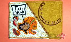 Run Turkey Run... Thanksgiving Mug Mat Turkey Applique.  - Digital File - Instant Download - Embroidery by EdytheAnne - 1