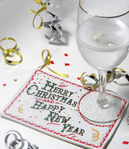 FESTIVE Merry Christmas & Happy New Year In The Hoop Mug Mat/Mug Rug - INSTANT DOWNLOAD - Embroidery by EdytheAnne