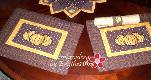 FALL/THANKSGIVING PLACE MAT  In The Hoop - INSTANT DOWNLOAD - Embroidery by EdytheAnne - 1