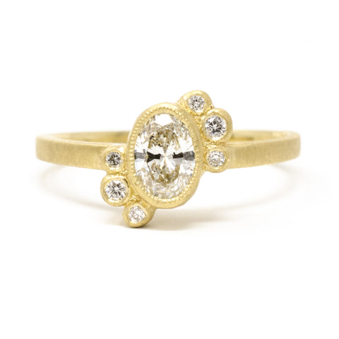 Blockette Offset White Diamond Cluster Ring