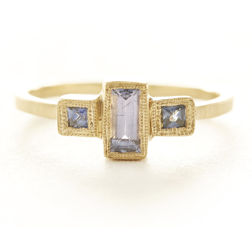 Blockette Baguette Tanzanite Blue Sapphire Ring