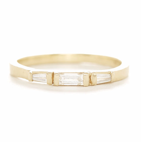 Blockette Baguette Three Diamond Ring