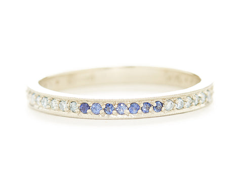 Stacking Blue Ombre Pave Diamond Band