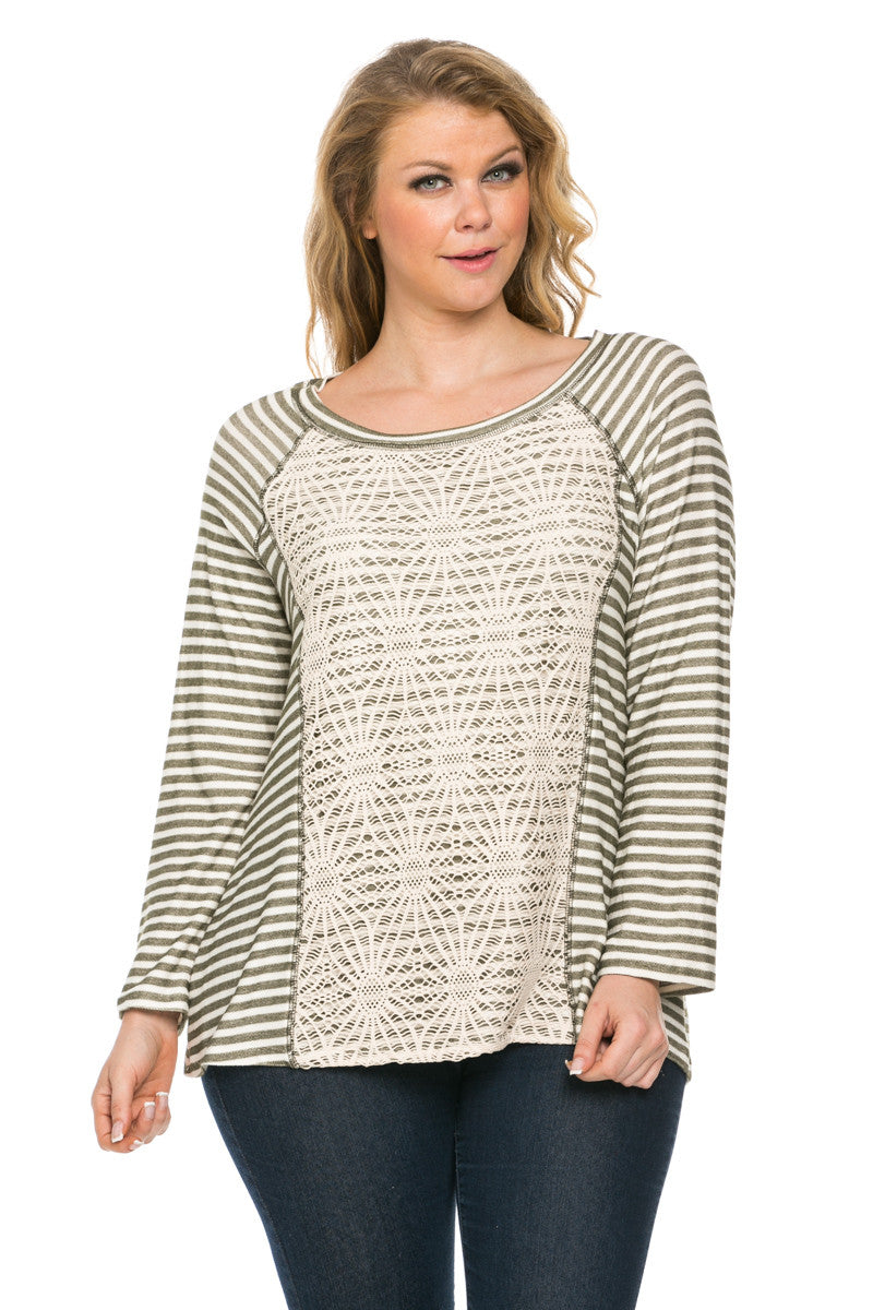 Floral Lace And Stripes Layered Plus Size Top Olive - Tops - My Yuccie - 1