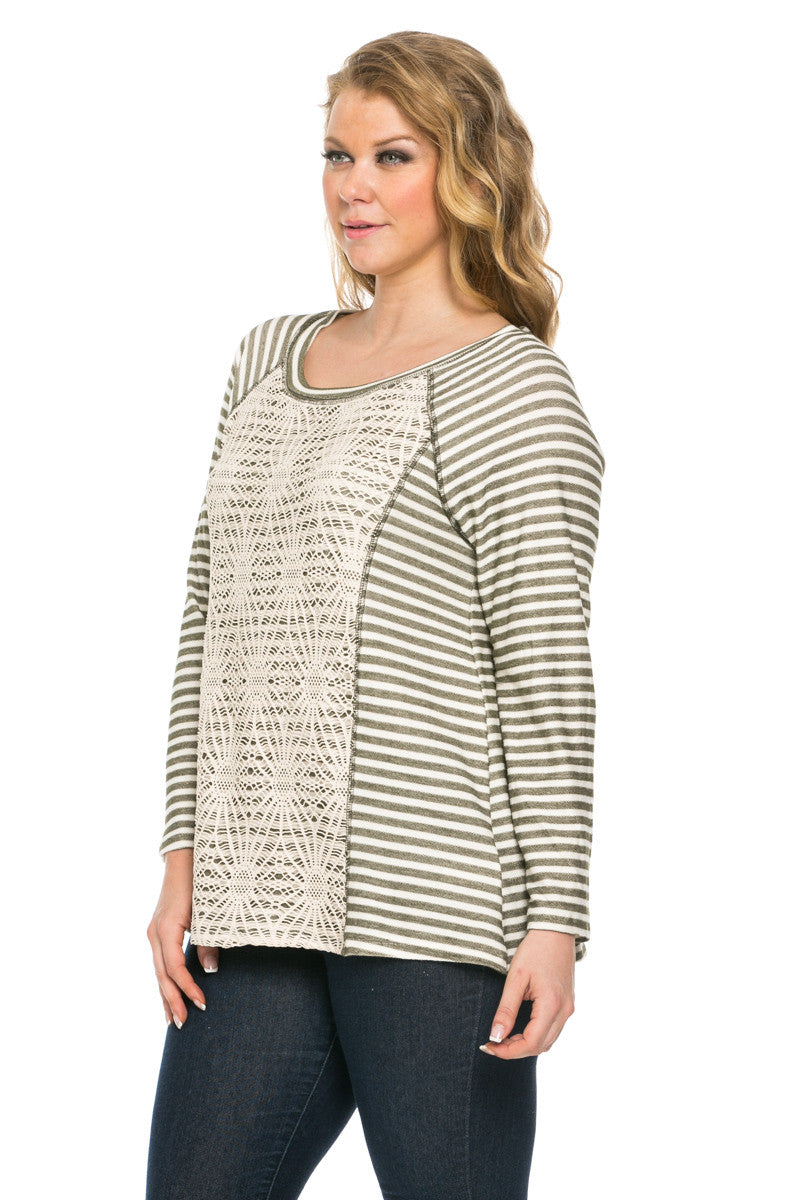 Floral Lace And Stripes Layered Plus Size Top Olive - Tops - My Yuccie - 2