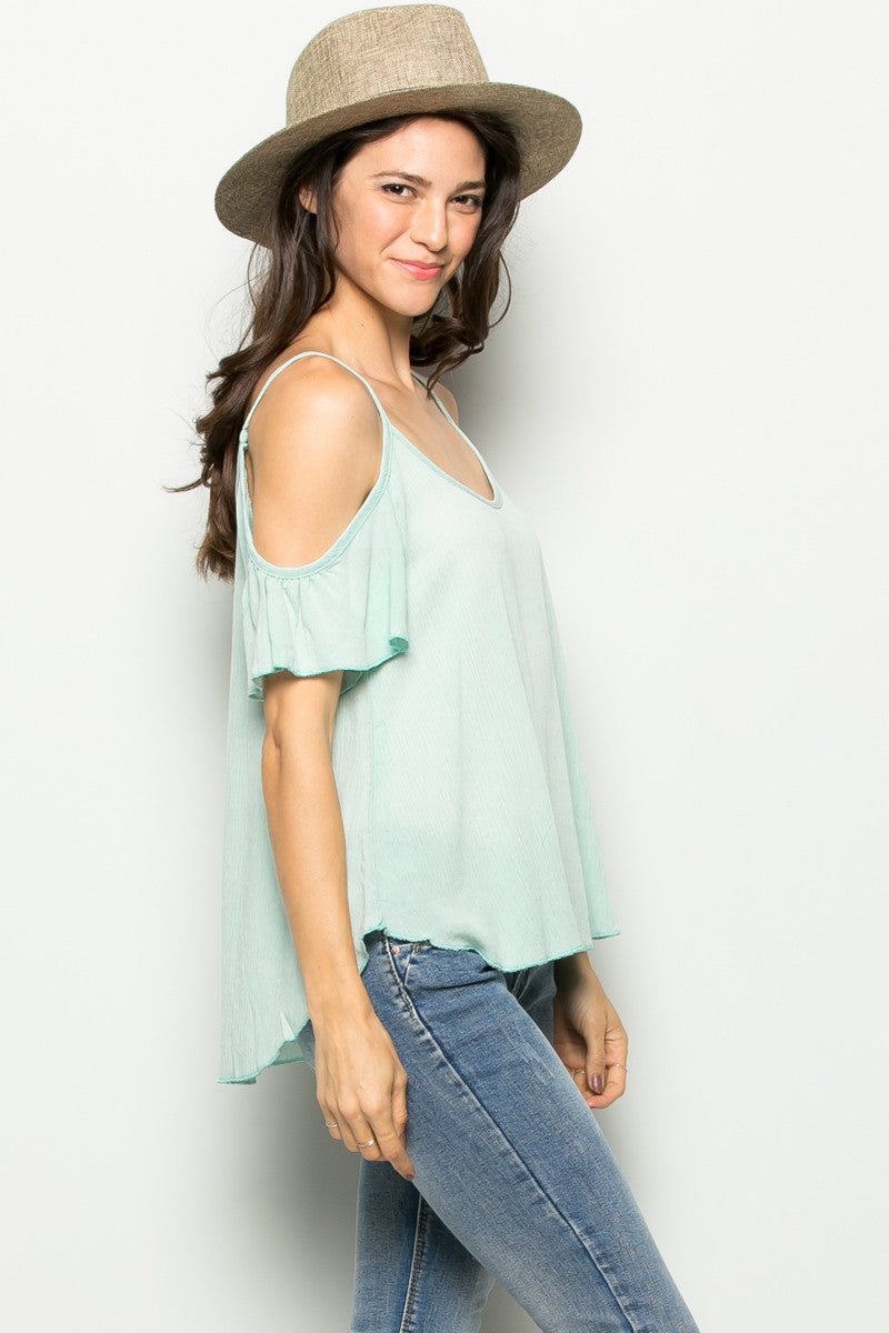 Flowy Mint Cold Shoulder Top - Shirts - My Yuccie - 1