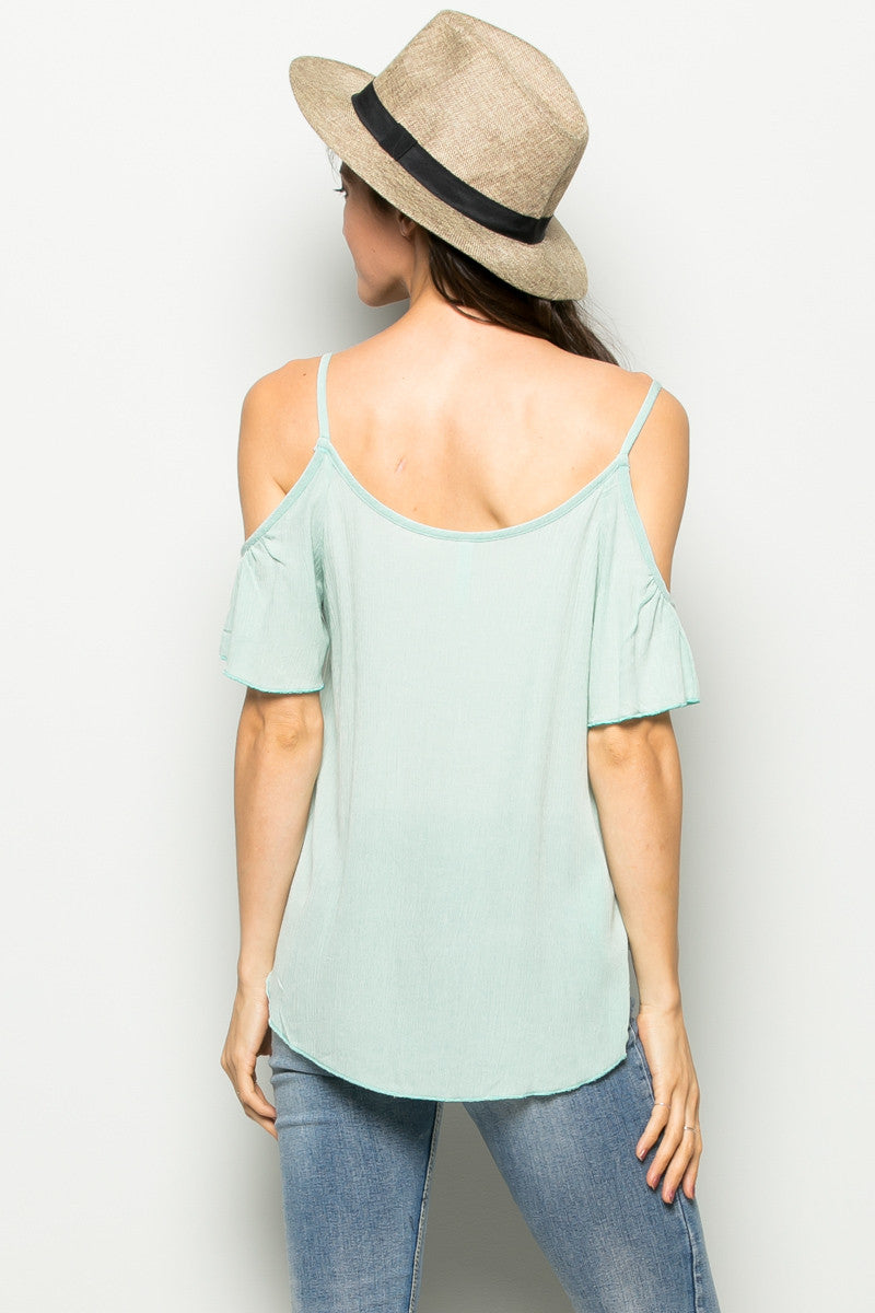 Flowy Mint Cold Shoulder Top - Shirts - My Yuccie - 3