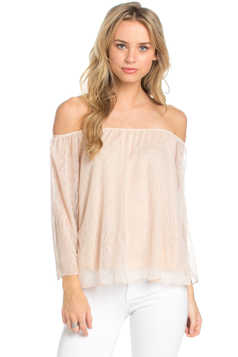 Casual Off Shoulder Taupe Lace Top - Blouses - My Yuccie - 3