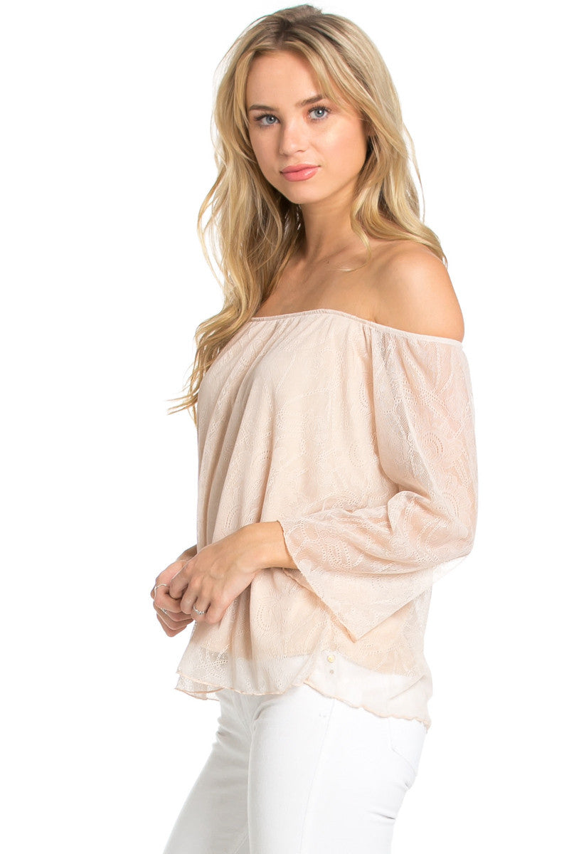 Casual Off Shoulder Taupe Lace Top - Blouses - My Yuccie - 1