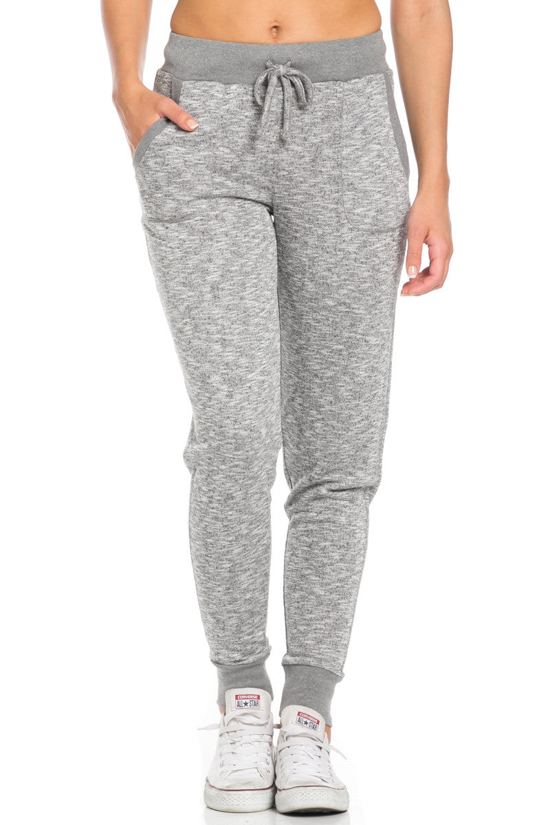Heather Grey Banded Speckled Jogger Pants - Jogger Pants - My Yuccie - 2