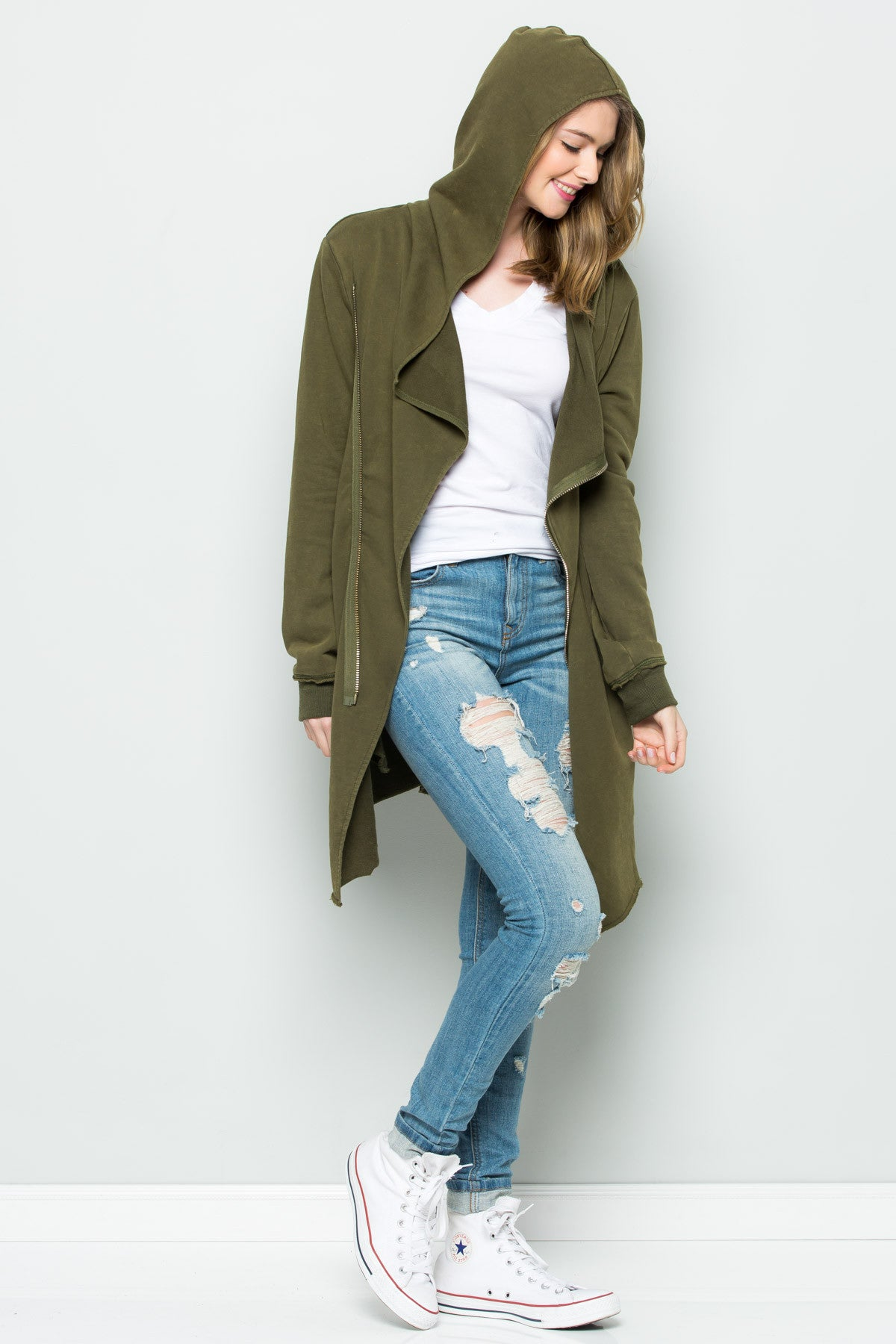 Hooded Asymmetric Zip Up Acid Wash Jacket in Military Green - Jacket - My Yuccie - 5