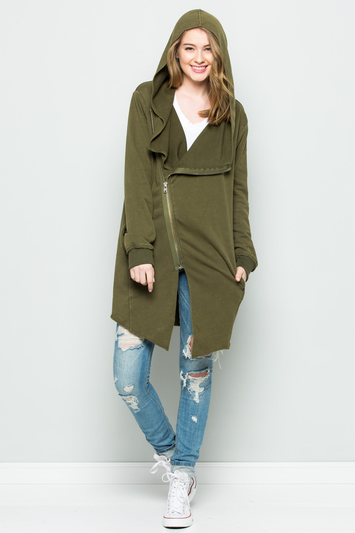 Hooded Asymmetric Zip Up Acid Wash Jacket in Military Green - Jacket - My Yuccie - 11