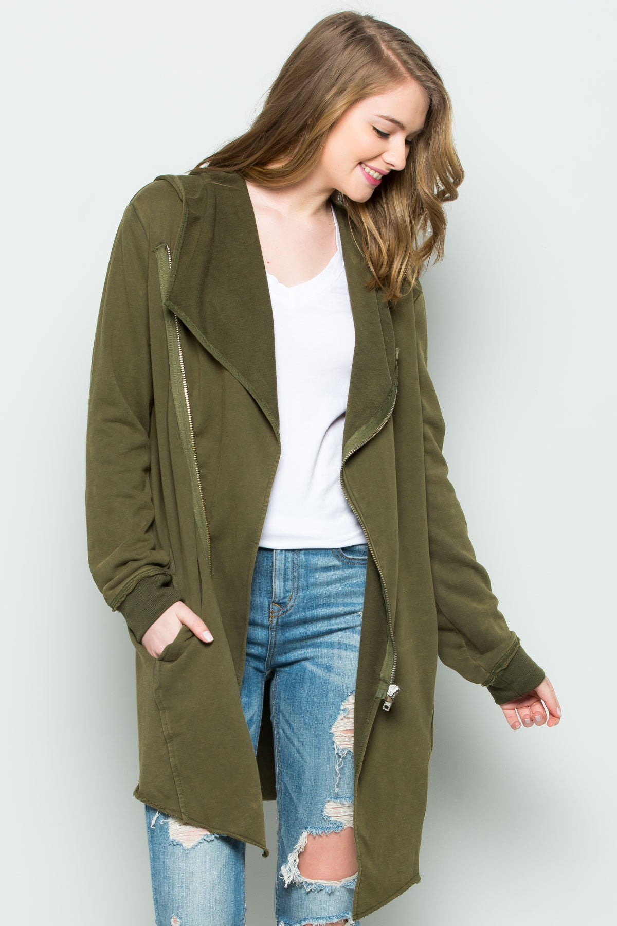 Hooded Asymmetric Zip Up Acid Wash Jacket in Military Green - Jacket - My Yuccie - 1
