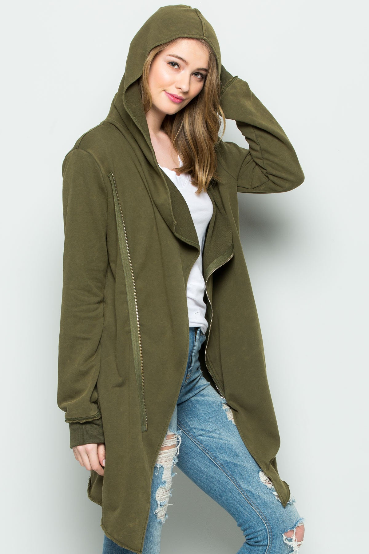Hooded Asymmetric Zip Up Acid Wash Jacket in Military Green - Jacket - My Yuccie - 8