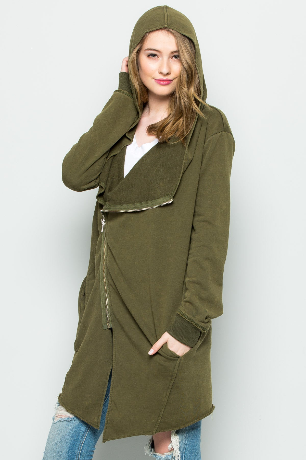 Hooded Asymmetric Zip Up Acid Wash Jacket in Military Green - Jacket - My Yuccie - 9