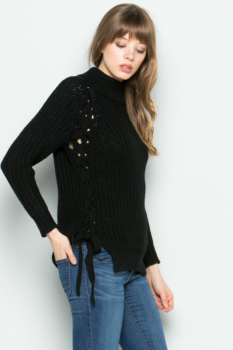 High Neck Side Tie Knit Sweater in Black - Sweaters - My Yuccie - 5
