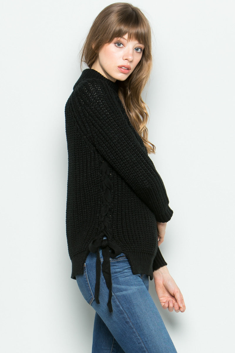 High Neck Side Tie Knit Sweater in Black - Sweaters - My Yuccie - 2