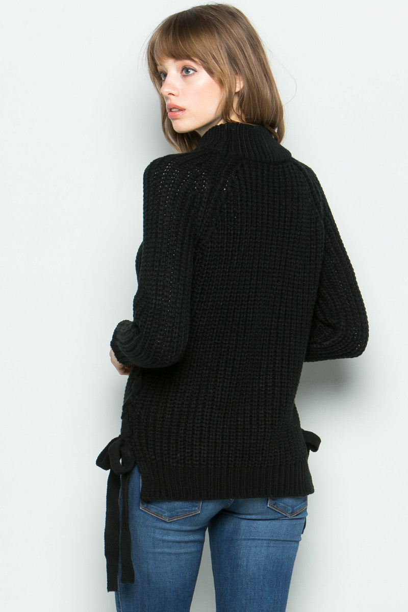 High Neck Side Tie Knit Sweater in Black - Sweaters - My Yuccie - 3