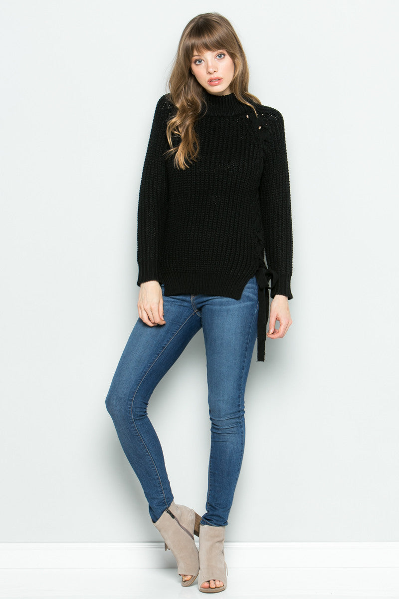 High Neck Side Tie Knit Sweater in Black - Sweaters - My Yuccie - 4