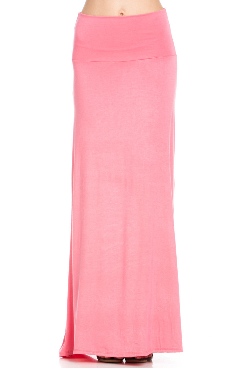 Fold Over Two-Way Maxi Skirt Coral - Skirts - My Yuccie - 1