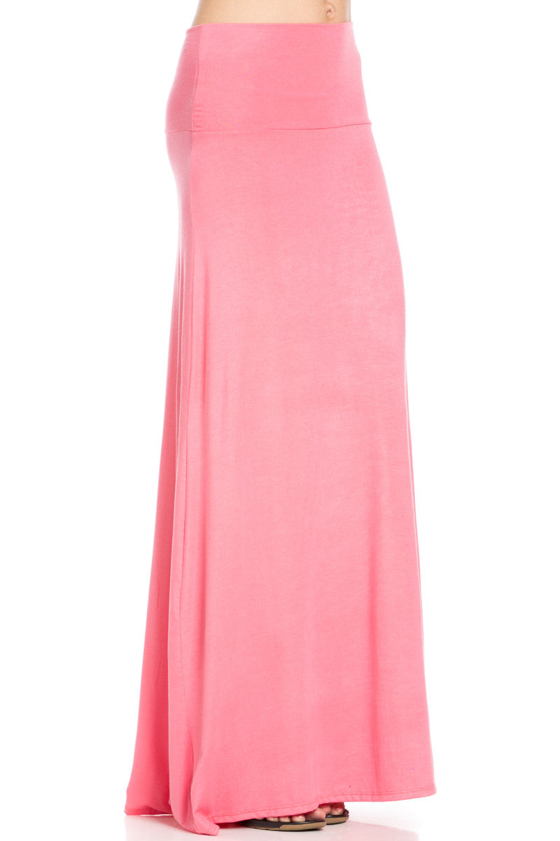 Fold Over Two-Way Maxi Skirt Coral - Skirts - My Yuccie - 5