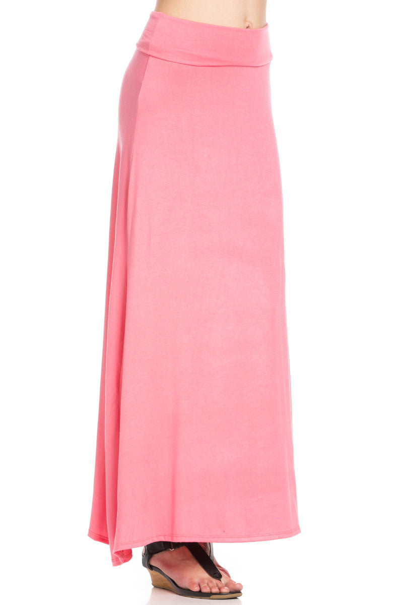 Fold Over Two-Way Maxi Skirt Coral - Skirts - My Yuccie - 7