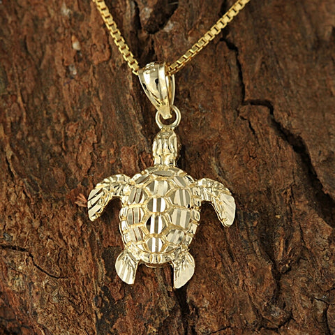 Large 14k Yellow Gold Turtle Pendant.