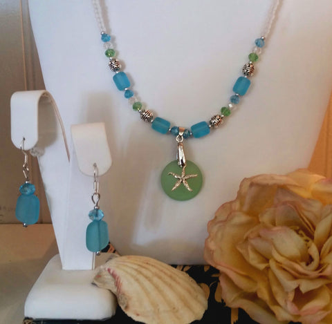 Handmade Sea Glass and Starfish Necklace