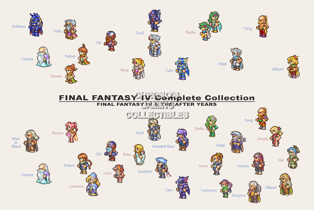 CGC Huge Poster - Final Fantasy IV All Characters PS1 PS2 PSP Nintendo DS GBA - FIV009